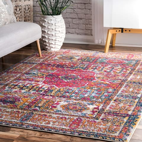nuLOOM Pink Transitional Enchanting Historic Ombre Border Area Rug