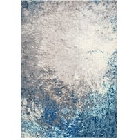 "nuLOOM Vintage Inspired Abstract Fancy Vibrant Blue/Grey Rug - 6' 7"" x 9'"