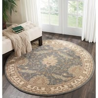 Nourison India House Blue Traditional Round Rug - 6' x 6'