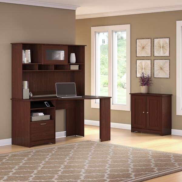 shop bush furniture cabot corner desk with hutch and small storage cabinet with doors in harvest. Black Bedroom Furniture Sets. Home Design Ideas