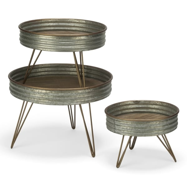 Set of 3 Industrial Round Metal Risers
