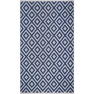 Handmade Chanler Blue Indoor/Outdoor Floor Rug (India) - 4' x 6'
