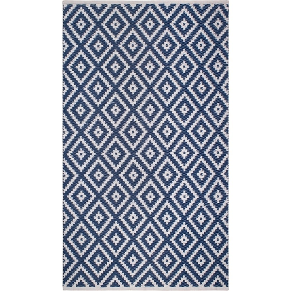 Handmade Chanler Blue Indoor/Outdoor Floor PET Rug (India) - 4' x 6'