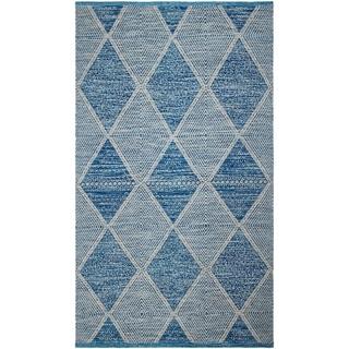 Handmade Blue Hampton Indoor/Outdoor Rug (India) - 5' x 8'
