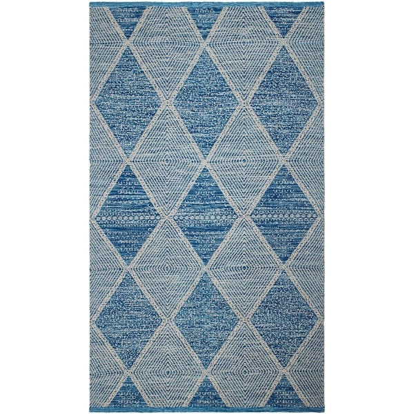 Handmade Blue Hampton Indoor/Outdoor PET Rug (India) - 5' x 8'