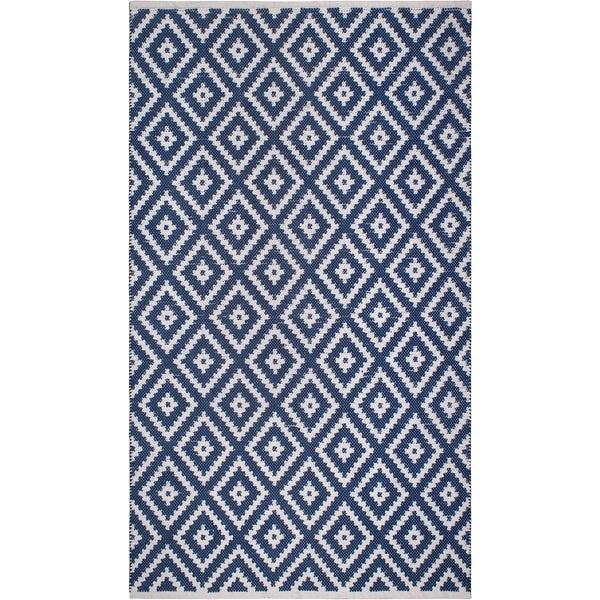 Handmade Chanler Blue Indoor/Outdoor Floor Rug (India) - 5' x 8'