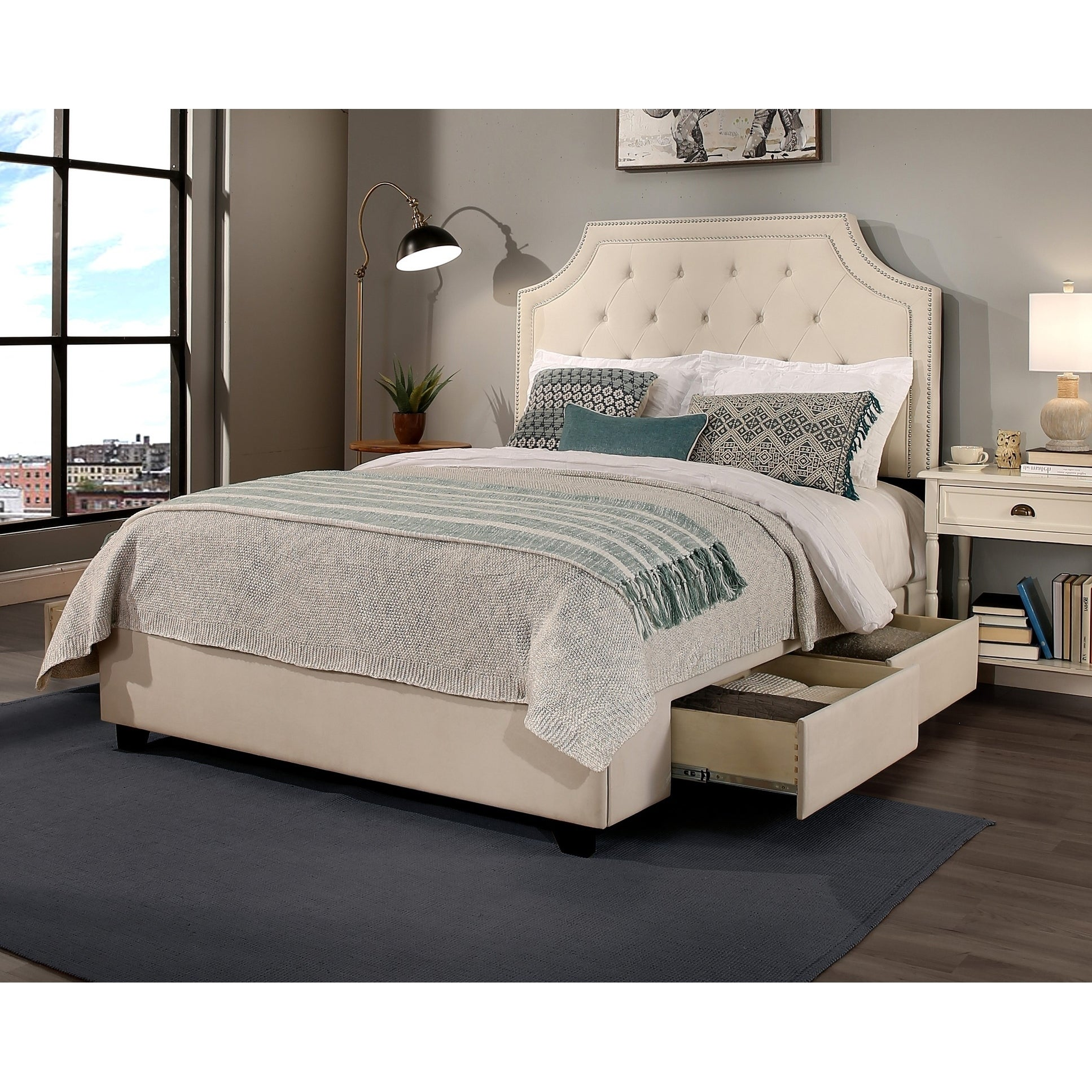 Audrey Upholstered Tufted Storage Bed With Nail Head Trim Size California King On Sale Overstock 21642676