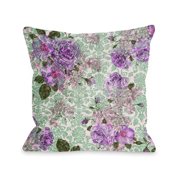 Aria Demask Florals - Green Pillow by OBC