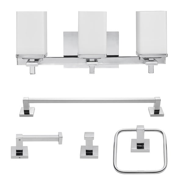 "Porch & Den Ashford Chrome All-in-one 5-piece Bath Set - 7.13"" L x 20.02"" W x 10.84"" H. Opens flyout."