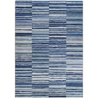 """Dream House Rugs Chapman Blue Transitional Blocked Stripes Area Rug - 9'2"""" x 12'5"""""""