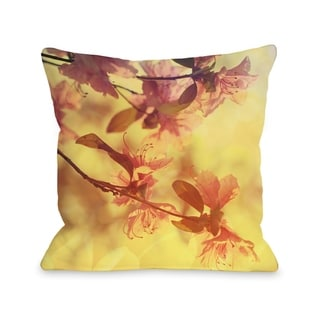 Delicate Flower - Yellow Pink  Pillow by OBC