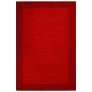 Hand-tufted Red Border Wool Rug - 8' x 10'6