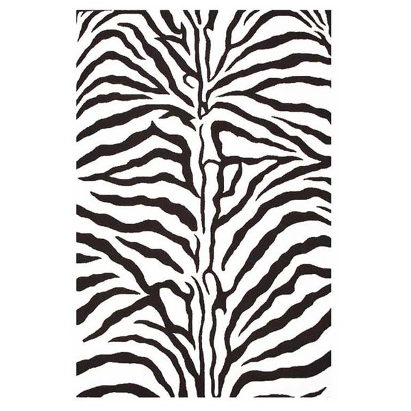 Contemporary Hand-Tufted Zebra-Stripe Wool Rug - 5' x 8'