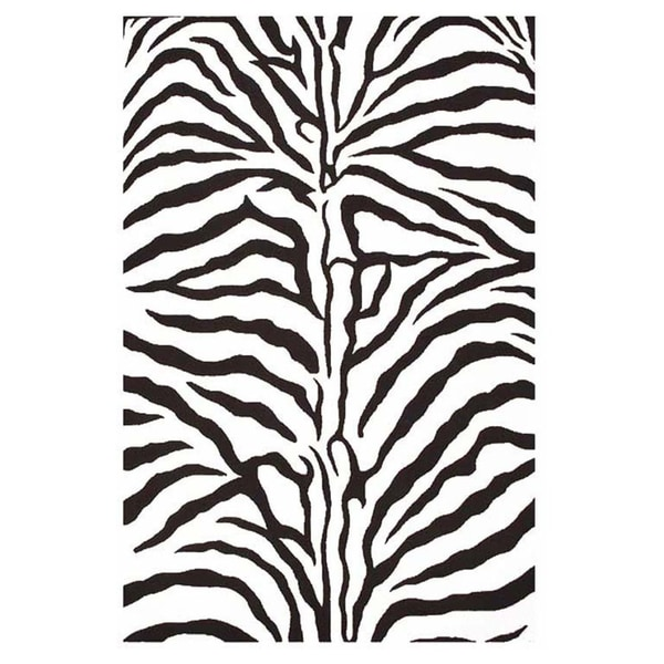 Hand-tufted Zebra Stripe Wool Rug (8' x 10'6)