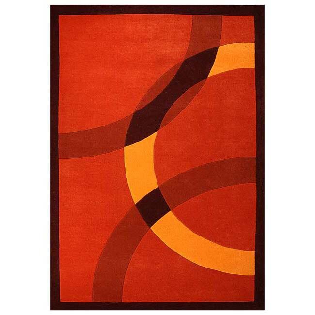 Hand-tufted Mystical Orange Wool Rug - 5' x 8'