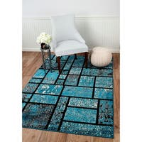 "Summit Teal Geometric Boxes Area Rug (8' x 11') - 7""4' x 10'6'"