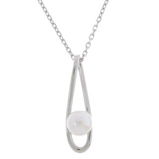 Sterling Silver Cultured Pearl Drop Necklace (5.5 mm)