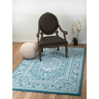 "Summit Light Blue Oriental Area Rug (8' x 11') - 7""4' x 10'6'"
