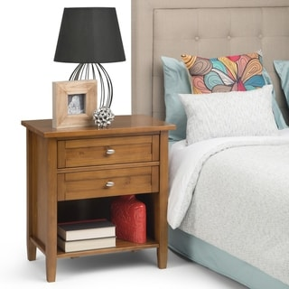 WYNDENHALL Norfolk Solid Wood 24 inch Wide Rustic Bedside Nightstand Table - 24 Inches wide