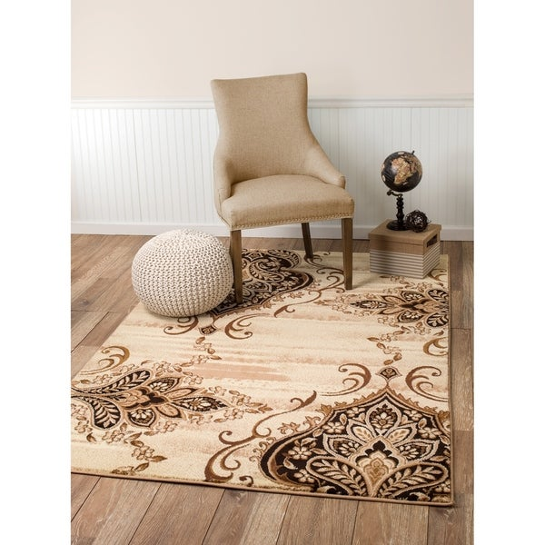 "Summit Damask Beige Jute Area Rug - 7""4' x 10'6'"
