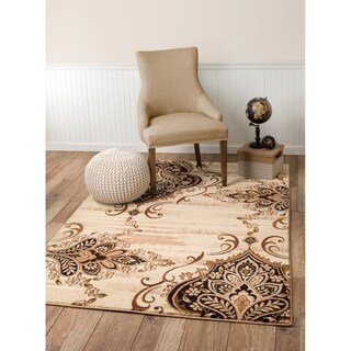 "Summit Beige Damask Area Rug (8' x 11') - 7""4' x 10'6'"