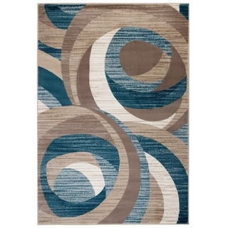 "Summit Blue, Taupe, Abstract Area Rug - 22"" x 7'"