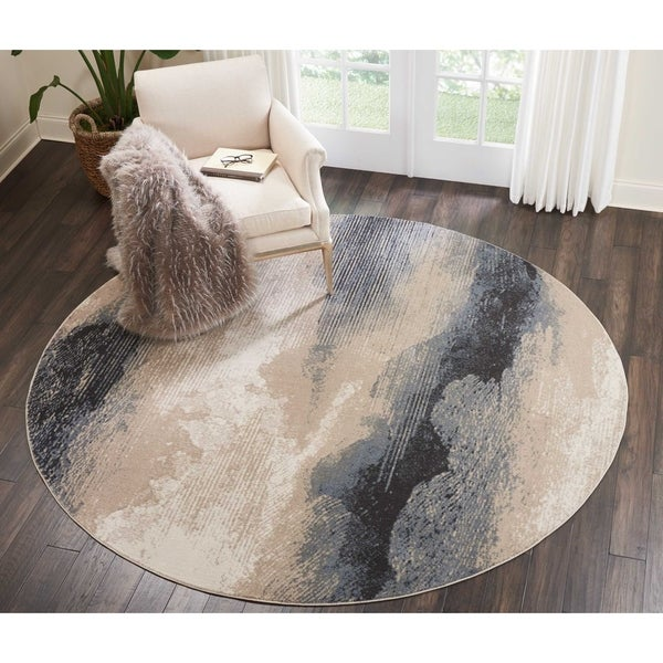 Shop Nourison Maxell Flint Ombre Grey Round Rug 7 10 Quot X