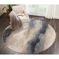 Nourison Maxell Flint Ombre Grey Round Area Rug - 7'10 x 7'10