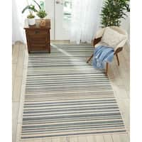 """Barclay Butera Striped Blue/Cream Area Rug by Nourison - 5'3"""" x 7'5"""""""