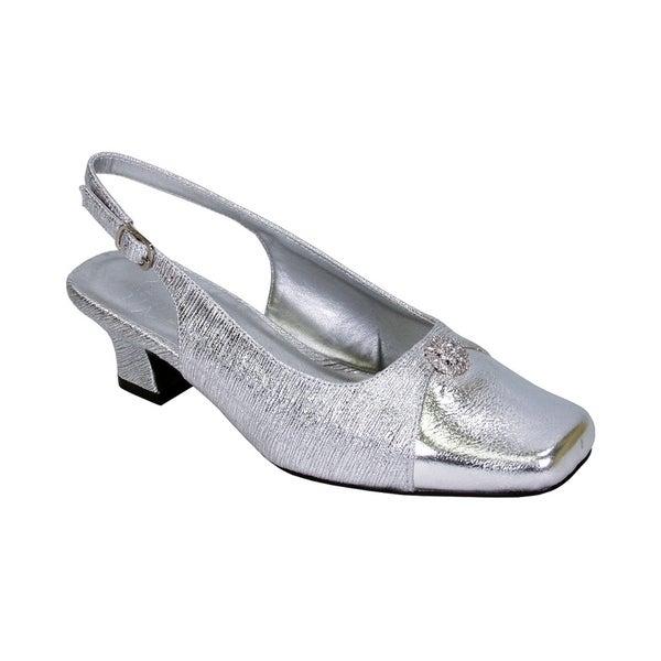 84d95c6afe78 FLORAL Jolie Women Extra Wide Width Elegant Slingback Dress Heel Shoes