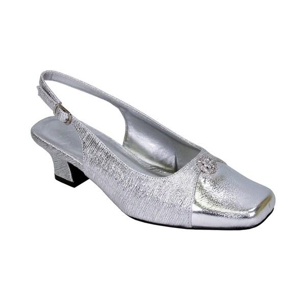 5448ca9bcbb FLORAL Jolie Women Extra Wide Width Elegant Slingback Dress Heel Shoes
