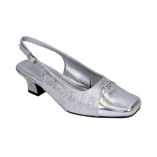 FLORAL Jolie Women Extra Wide Width Elegant Slingback Dress Heel Shoes