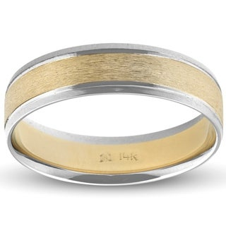 Link to Pompeii3 14k White & Yellow Gold Mens Two Tone Brushed Band 6MM Wedding Ring Similar Items in Rings