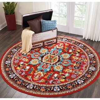 """Nourison Oakdale Traditional Red Round Rug - 7'10"""" x 7'10"""""""