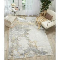 "Kathy Ireland Vintage Abstract Grey/Gold Area Rug by Nourison - 5'3"" x 7'5"""