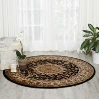 "Nourison Delano Black Traditional Medallion Round Rug - 7'10"" x 7'10"""