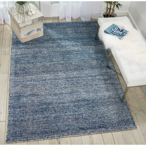 "Nourison Weston Handmade Distressed Aegean Blue/White Jute/Rayon From Bamboo Area Rug - 5'3"" x 7'5"""