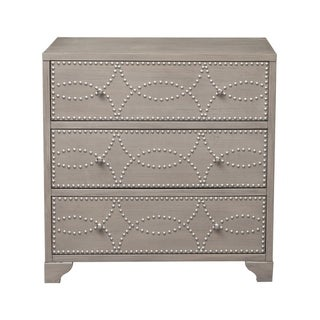 Three Drawer Brushed Nickel Nail Head Accent Chest