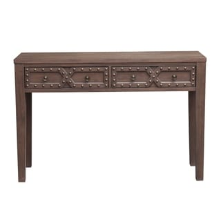 Traditional Wire Brushed Distressed Acacia Two Door Accent Storage Console Table