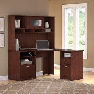 Copper Grove Burgas Corner Desk with Hutch and 2-drawer File Cabinet in Cherry