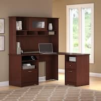 Bush Furniture Cabot Corner Desk with Hutch and 2 Drawer File Cabinet in Harvest Cherry