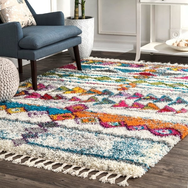 nuLOOM Multi Soft and Plush Playful Geometric Pint Tassels Shag Rug
