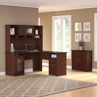 Cabot L Shaped Desk, Hutch and Storage Cabinet with Doors in Cherry