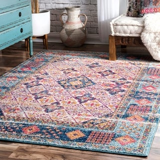 nuLOOM Light Blue Transitional Classical Historical Style Faded Border Area Rug