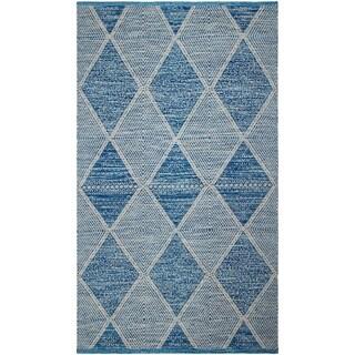 Handmade Blue Hampton Indoor/Outdoor PET Rug (India) - 3' x 5'