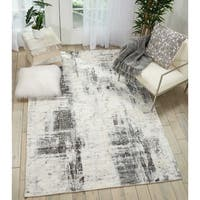 "Kathy Ireland Vintage Abstract Ivory/Grey Area Rug by Nourison - 5'3"" x 7'5"""