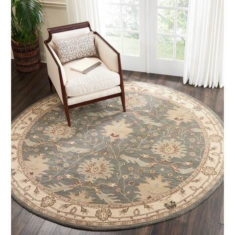 Nourison India House Traditional Blue Wool Area Rug - 8' x 8'