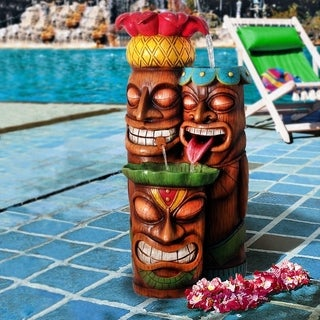 Alpine Colorful Tiki Bowl Cascading Fountain w/ LED light, 35 Inch Tall