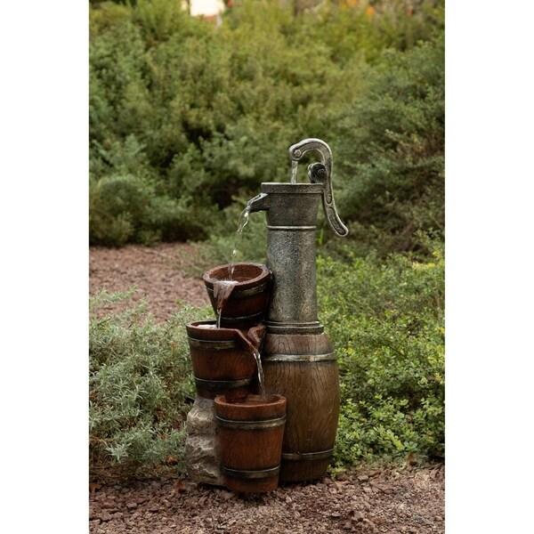 Shop Alpine Vintage Barrel Water Pump with Buckets Fountain
