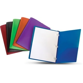 Storex Tear-Resistant Two-Pocket Folder with Plastic Prongs, Assorted Colors, 18-Pack